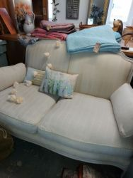 Cream linen Laura Ashley French style sofa   SOLD. The right hand side at the back is slightly darker that the left...£250