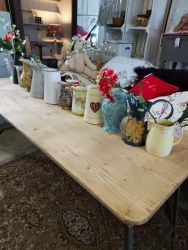 Long Military trestle table with metal fold up legs £80  Variety of jugs....from £6