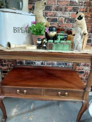 Vintage Mahogany buffet/side table with bottom shelf and drawer £110