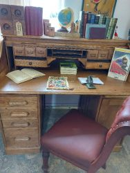 Vintage Oak Roll top desk £170    SOLD  Splits into 3 for moving.