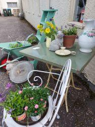 Green ladders £25....Green painted metal wheelbarrow £30  Old metal table £20