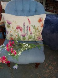 Very nice blue button back chair £110    SOLD
