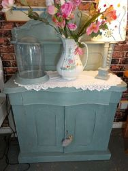 Beautiful old painted chiff...such a cute one with old pine shelves inside   £90    SOLD