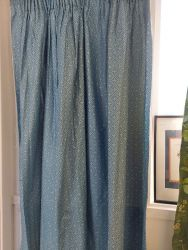 Lovely line blue/grey Country House curtains 70ins wide by 54ins deep  £20