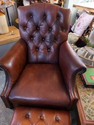 Lovely neat brown leather chair and footstool £225    SOLD