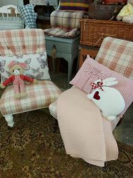 Choice of two old checked nursing chairs. £40 each    SOLD