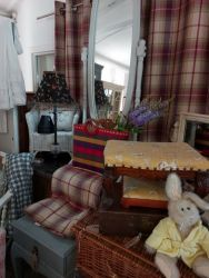 Cheval mirror £35 SOLD  Various Dorma curtains length 166  £25  Interesting large lamp and shade £25