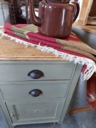 Smart old oak cupboard painted and stripped £40. Old enamel t pot. Good condition £14    RUG SOLD