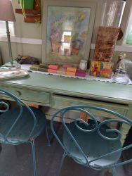Nice old painted desk £75   Bistro metal chairs £20 each   SOLD