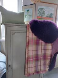 Lovely shelved cupboard ...sizes to follow with 3 shelves inside £85   New Dorma curtains £25. Matching sheepskin rug £30