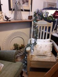 Lovely old painted storage chair £40. Cast iron fire insert £30. Rustic shelf with cast iron brackets £20