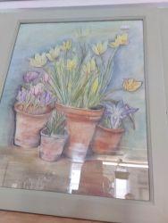 Pretty original in pastel, nice green frame £15