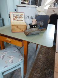 Lovely original vintage duck egg formica top, drop end table with drawer £35 Vintage Bread bin £15