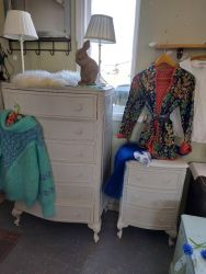 Pretty French style chest £80   SOLD. French style bedside £45  Grey/white SOLD