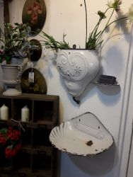 Old French wall sink and water carrier plus soap dish  £40