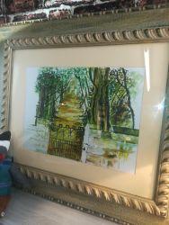 Nice Green Print In Good Frame  69cm x 60cm - £20