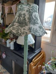 Cute green standard lamp and shade £35. Or without shade £30