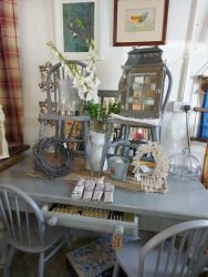 Grey table and chairs £170  SOLD   Mirror back lanterns £20