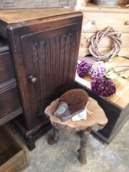 Iron hedgehog boot brush £12 Rustic side table £20