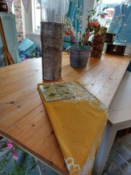 Huge boarded pine table £160    230cm by 100cm