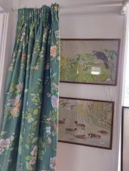 Beautiful Country House cotton sateen lined curtains....64ins drop by 50 ins wide also a pelmet   £20....