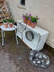 Large size Belfast sink £35 Metal chair with arms £25