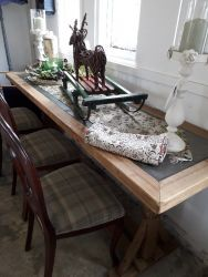 Rustic top long table, slightly higher than a dining table....£110