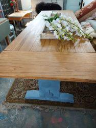 7ft long oak table, a good solid piece  £130