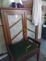 Nice oak bookcase with glazed doors £45  Traditional piano stool £45