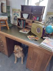 Sturdy vintage oak desk with cupboard, drawers and green leather on top £140    SOLD