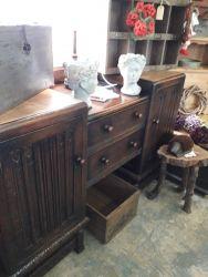 Rustic linen fold sideboard, useful storage £70 SOLD