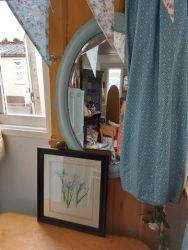Large vintage oval duck egg blue mirror £20