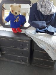 Very nice small painted chest of drawers £45...Bedside £25  Vintage Mothercare Paddington  £15.  Very pretty blue patchwork quilt will measure it....£25