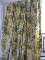 Vintage Austrian blind in a gorgeous parrot design. Could be altered    97 ins wide by 93 ins drop £20.