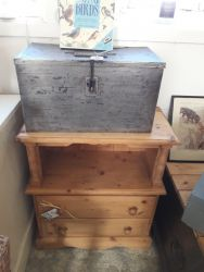 Waxed pine chest £50. Aluminium box £15