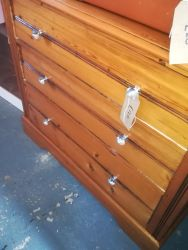 Pine Chest With Glass Handles 100cm x 43cm x 80cm High - £85
