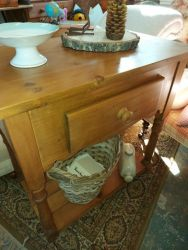 Nice old piece of pine with drawer and bottom shelf, a bit like a wash-stand £70     SOLD