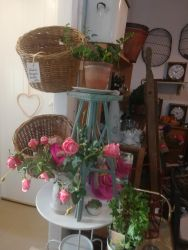 Plant Stand - £10, Bicycle Baskets - £10, Metal Garden Table - £15