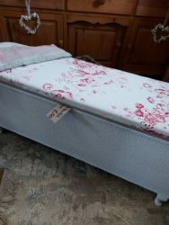 Recovered and painted Queen Anne leg blanket box £50