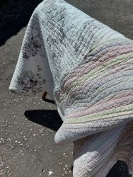 Large, heavy double sided cotton quilt size: 240 by 260cm  £35