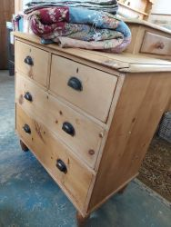 Vintage Blonde waxed pine chest 85cm by 85cm by 45cm deep  £70     Very pretty large patchwork quilt and shams £35