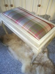 Piano Stool With Plaid Cover - £30