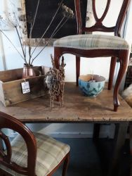 Rustic stripped top and painted leg table £65  8 Plaid covered chairs for £180