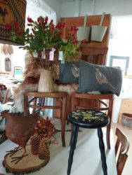 Painted stool £15, SOLD Rusty hen £7. SOLD..Rosehips £3