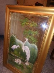 One Victorian Painted Mirror With Storks - £20