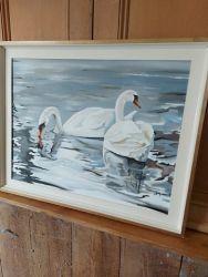 Lovely, original acrylic of Swans £20