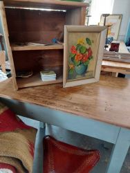 Rustic top work  table £40  Old pine shelved unit, may be good for shoes...£15  Lovely Original painting £14