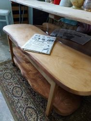 Two tier coffee table/trolley. Really nice piece of wood £55