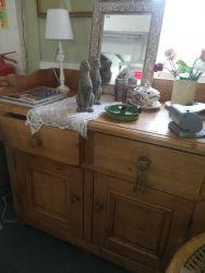 Victorian Pine Cupboard & Drawer Unit 120cm Wide - £135