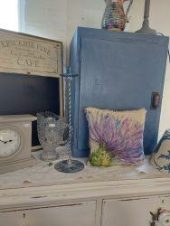 Blue cabinet with shelf inside £25 Modern battery clock in grey £10